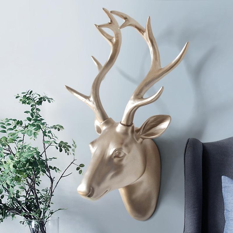 Animal Head Sculpture Wall Hanging Decor Deer/Goat Head Statue Creative Resin Murals Ornament Artwork Craft