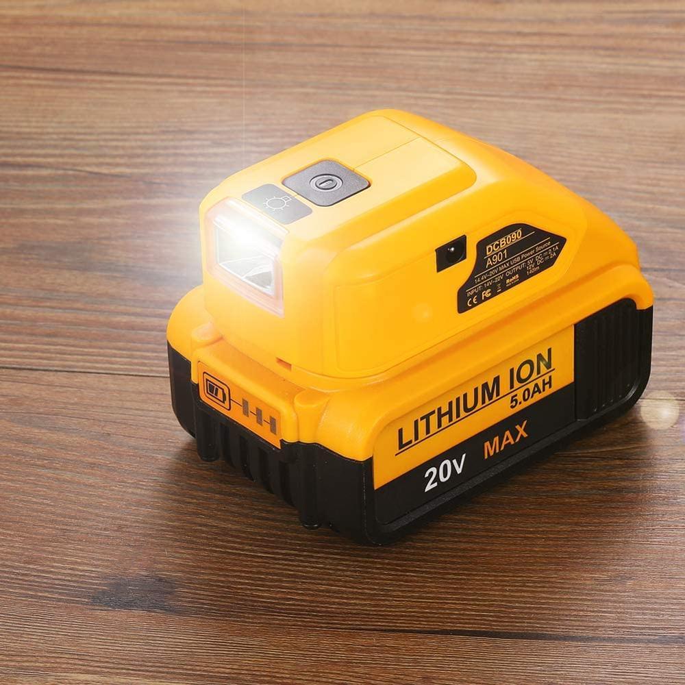 DCB090 Battery Adapter For Dewalt 20v Max 18V Battery USB Charger with Dual USB DC 12V LED Work Light Power Source Supply