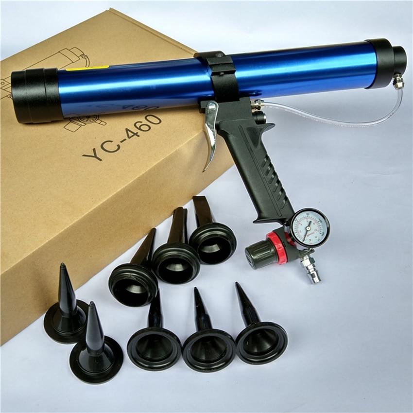 1 Set 45cm Pneumatic Glue Gun Glass Air Cartridge Caulking Gun with Regulating valve, Caulk Nozzles Silicone Sausages Glue Gun