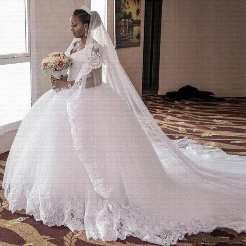 TULX الأبيض الكرة ثوب فساتين الزفاف 2021 كم كاب الخرز رائع الدانتيل الخامس الرقبة الملكي قطار حجم كبير زي العرائس رداء