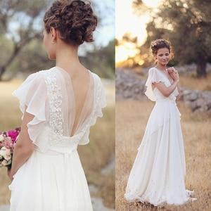 FOLOBE Elegant Wedding Dresses Backless V-neck Chiffon Flowers Ruffles Saches A Line Beach Wedding Gowns Boho Bridal dress 2020