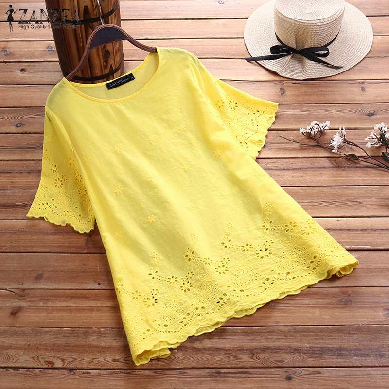 Blusa bordada para mujer 2019 ZANZEA elegante túnica Casual hueco camisa femenina de manga corta Camisas Blusas de talla grande