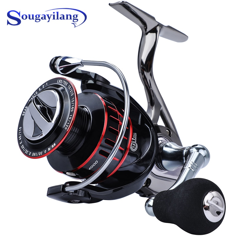 Sougayilang New Spinning Fishing Reel 13+1BB Aluminum Body Gear Ratio 4.7:1 Fishing coil Carp Fishing Reel Fishing Tackle  Pesca tsurinoya flying shark 6 2 1 high speed fishing reel 4000 5000 spinning reel 11 1bb 12kg drag aluminum spool carp fishing tackle