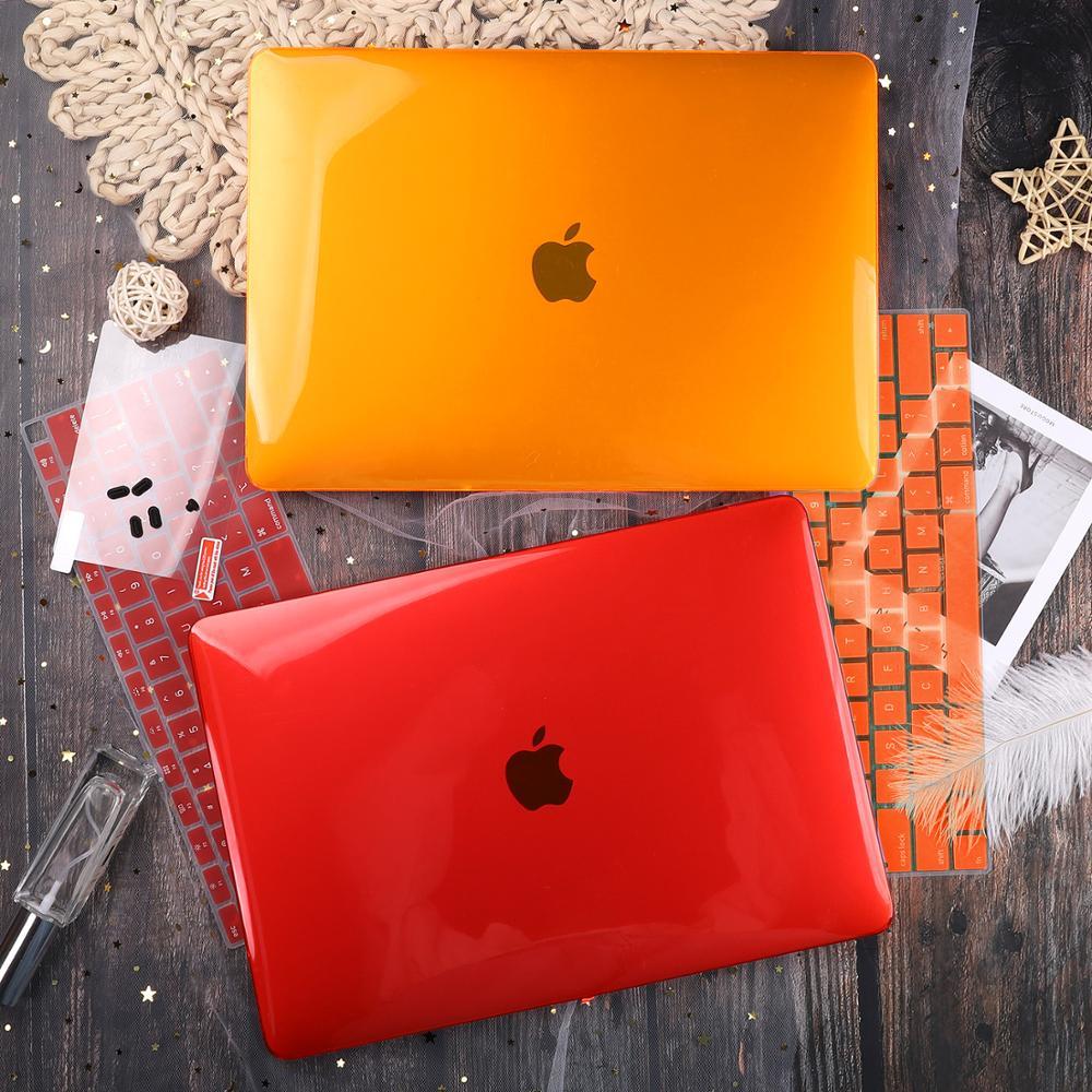 Funda rígida transparente cristal para Apple Macbook Air Pro Retina 11 12 13 15 16 para nuevo Air 13 pulgadas funda de portátil para teclado