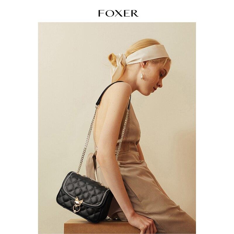 Foxer Lozenge Fashion Girl Flap Bag Split Leather Small Women Crossbody Bag Casual Ladies Mini Phone Purse Female Messenger Bag