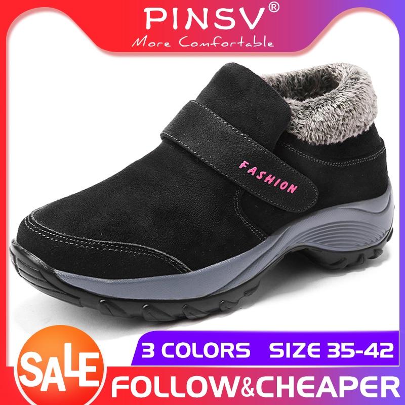 PINSV 2019 botas de nieve para mujer de Invierno para mujer zapatos de plataforma caliente negro botas de tobillo de cuña alta para mujer Botas de senderismo impermeables