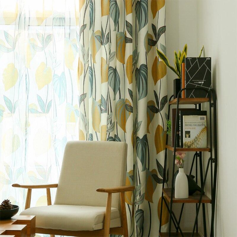 Шторы для спальни с узором листьев, односпальные занавески в американском стиле для окна, занавески для кухни в сельском стиле