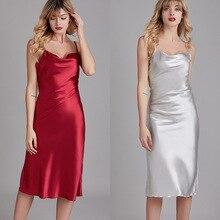 Summer Silk Nightgowns & Sleepshirts Red Sleeveless Dress Women Satin Sleep & Lounge Sexy Sleepwear