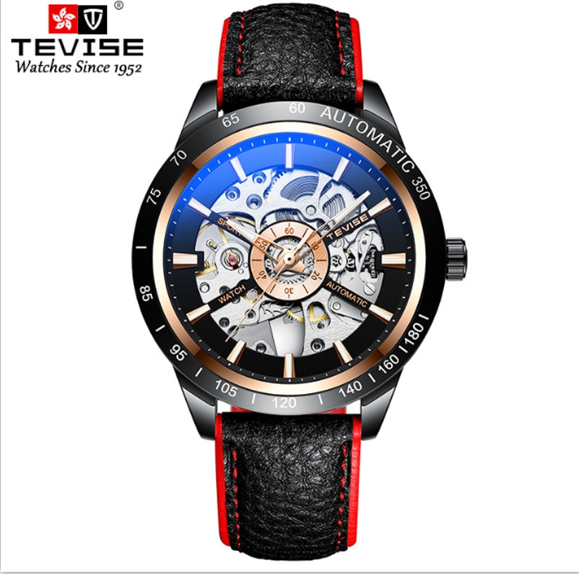 TEVISE Brand Cool Connotation Automatic Mechanical Hollow Out Mens Watch Luminous Simple Fashion Mal