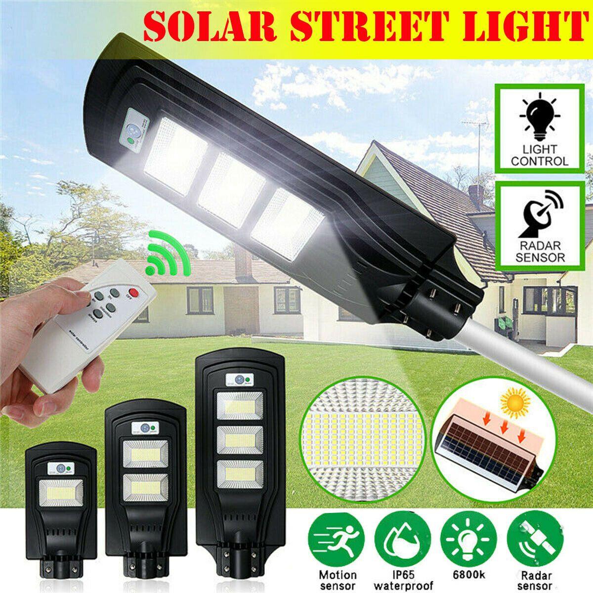 150W 300W 450W LED Sensor Solar Panel pared farola lámpara de luz por movimiento PIR impermeable IP67 50mm poste de montaje para iluminación al aire libre