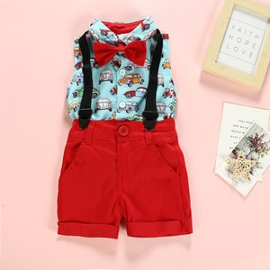 40# Kids Clothing Baby Boys Girls Sleeveless Gentleman Suit Cartoon Print Bow Tie Shirt + Solid Color Strap Shorts Suit