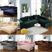 luxury velvet plush sofa cover all inclusive elastic sectional couch cover for living room chaise longue l shaped corner covers