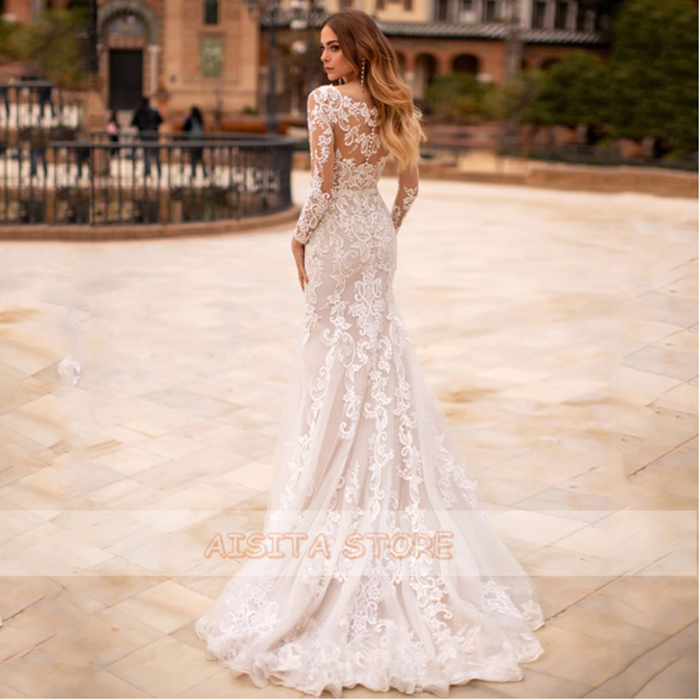 Gorgeous Mermaid Wedding Dresses 2021 Luxury O Neck Lace Long Sleeves Appliques Floor Length V-Neck Tulle Vestido De Novia