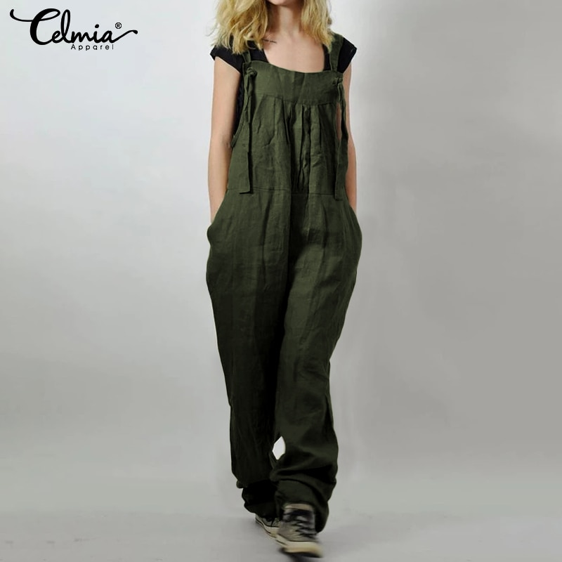Monos de Celmia para mujer, monos de lino Vintage, pantalones Harem para mujer, bolsillos sueltos, monos de tiras, pantalones largos de talla grande