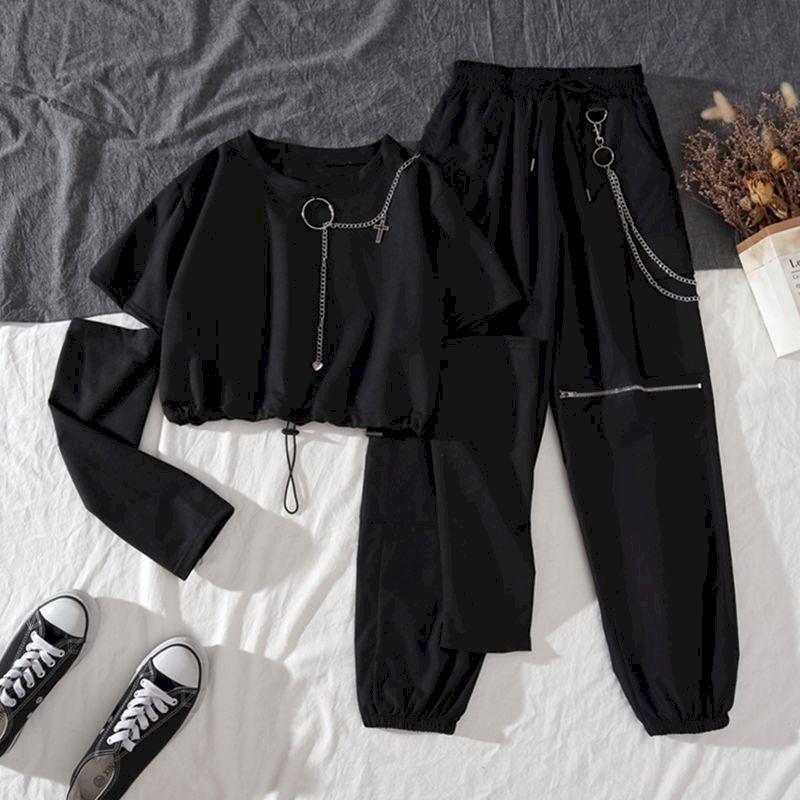 بدلة رياضية من قطعتين للسيدات لربيع الخريف بنطلون هاراجوكو للشحن بدلة جميلة مكونة من قطعتين بسلسلة بأكمام طويلة وشريط