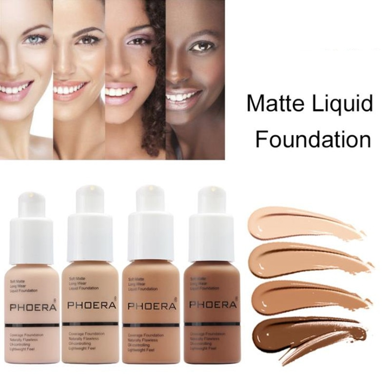 PHOERA 30ML cara corrector blanqueador Facial líquido Fundación Base de maquillaje de larga duración crema hidratante de aceite de Control corrector crema