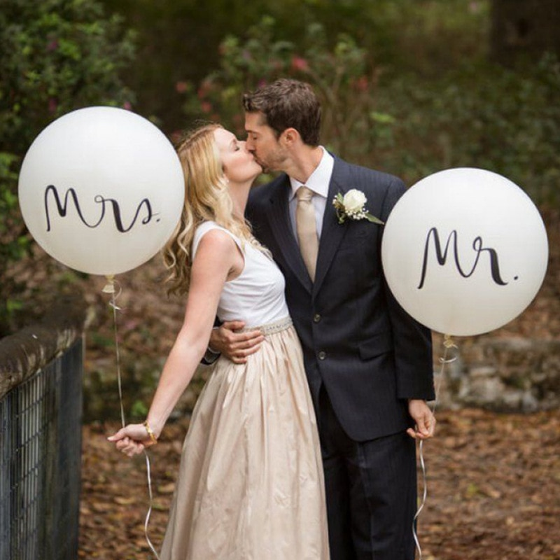 Big Size Good Quality 36inch Round White Print Mr&Mrs Latex Balloons Happy Wedding Valentine's Day Event Air Globos Supplies