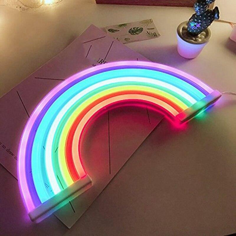 HLZS-nowy śliczne Rainbow Neon tęcza Led światła lampy dla dekoracja do sypialni Rainbow wystrój lampa neonowa dekoracje ścienne
