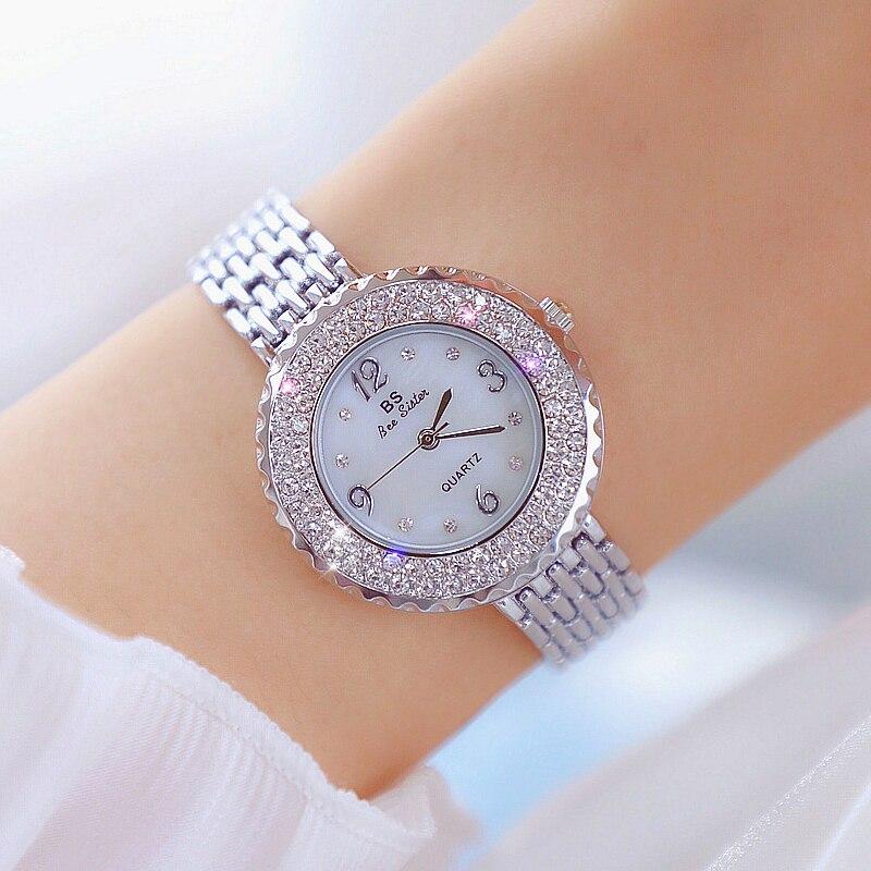 BS Bee Sister Women Luxury Quartz Watch Diamond Simple Dress Rhinestone Steel Waterproof Wristwatch Relogio Feminino 1311 enlarge