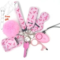 woman self defense metal tools knife personal safety alarm pink cat cute wristlet keyring set accessories self defense keychain