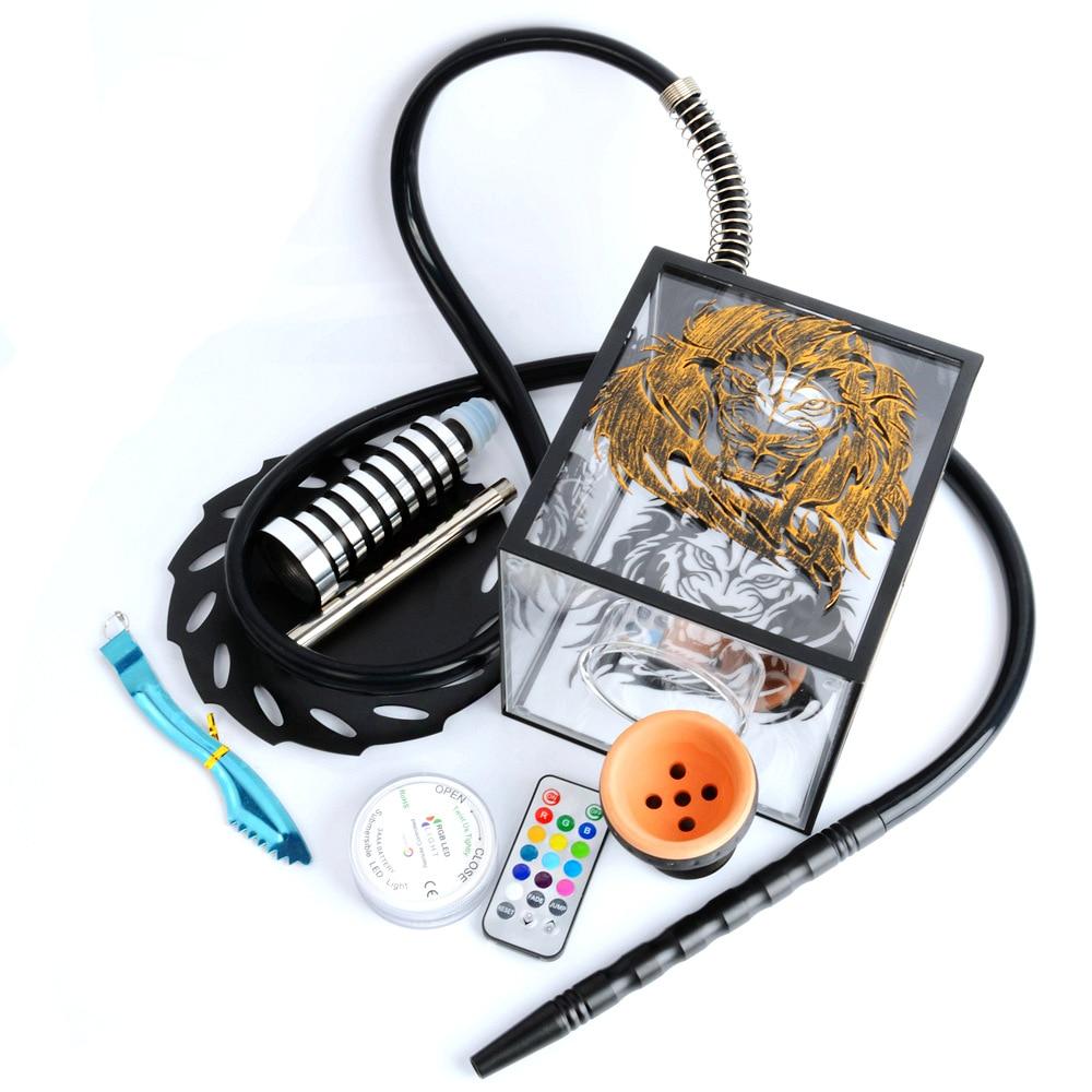 Arab Hookah Set Lion's Head Pattern Acrylic Complete Shisha with Led Light Bowl Metal Clip Sheesha Chicha Narguile Accessories enlarge