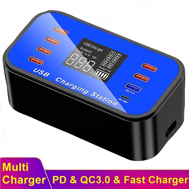 Tongdaytech متعدد 8 ميناء USB شاحن سريع آيفون 11X8 Plus Lcd عرض سريع تهمة QC 3.0 Cargador لسامسونج S20 S10 S9