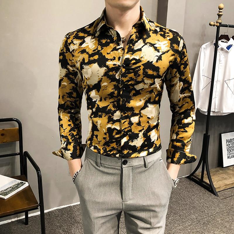عالية الجودة الربيع جديد 2021 أنيق طباعة طويلة كم سهرة قمصان للرجال الملابس بسيطة سليم صالح نادي/حفلة موسيقية عارضة البلوزات