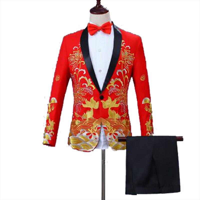 Classica, conjunto con americana bordada con pez rojo y azul, traje de solapa de corte Delgado, chaqueta con pantalones, abrigo de cantante de escenario (chaqueta, pantalones y pajarita)