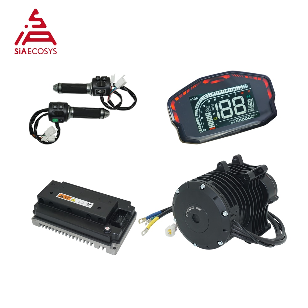 QS Motor 138 3000W V3 70H 5500W Max Continuous 72V 100KPH Mid Drive Motor With EM150-2SP Controller Conversion Kit For E-Bike