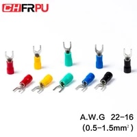 100pcs sv series fork insulated electrical wire crimp terminals a w g 22 16 spade terminals crimp wire connectors