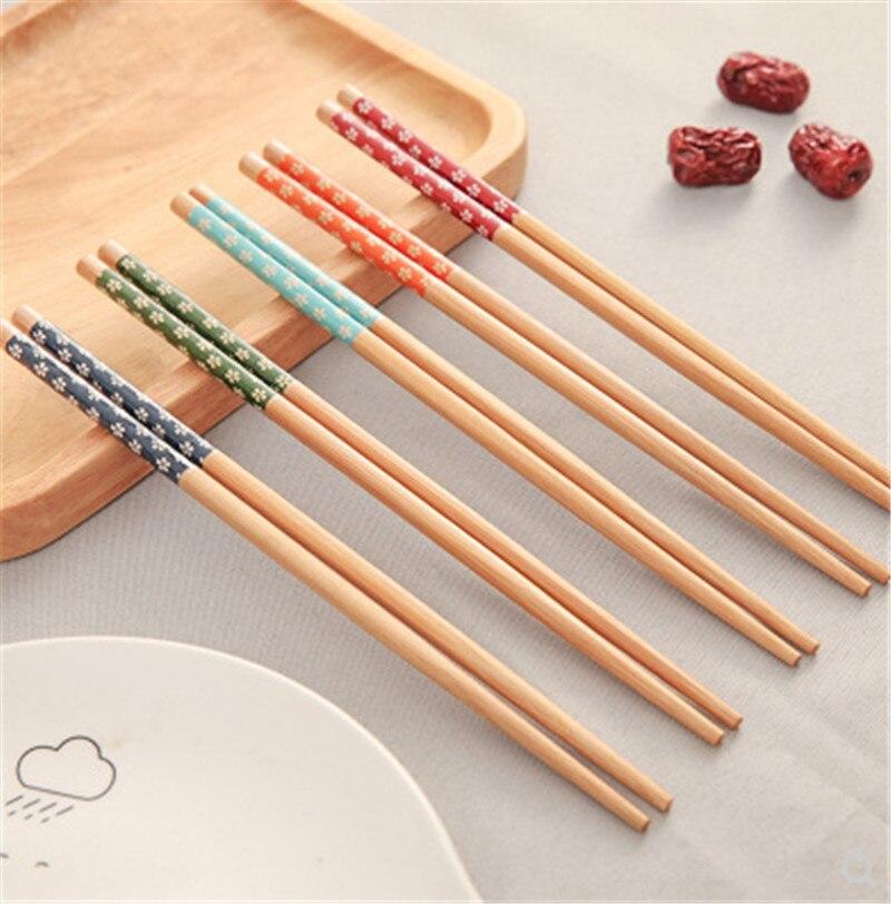 1 пара, японские деревянные бамбуковые палочки для еды с натуральным принтом, для здоровья, без лака, восковая посуда, столовая посуда, Хаши, суши, китайский