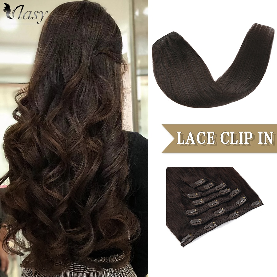 Vlasy Full Head Machine Remy Clip in Hair Extensions Straight Natural Balayage Hairpins Double Weft Lace Clips On 16''-24'' 7pcs
