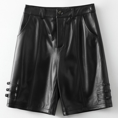 2021 Women New Fashion Genuine Real Sheep Leather Shorts H53