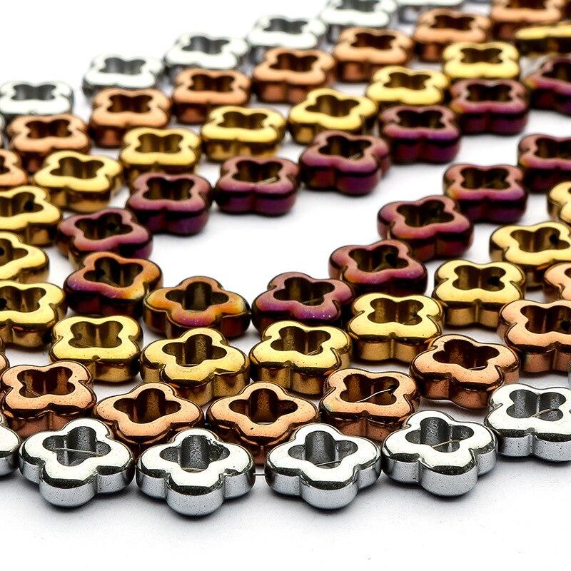 Hematites de piedra Natural de 15mm, chapado en trébol de cuatro hojas de colores, joyería hecha a mano de alto grado, pulsera DIY, partes de collar de 15