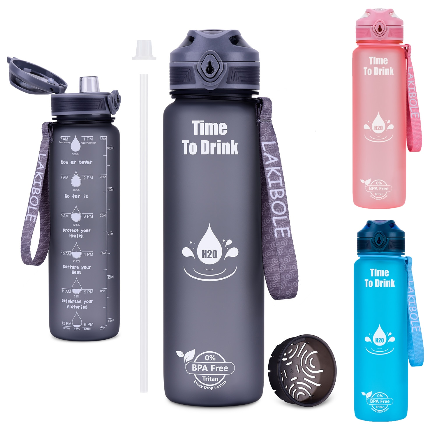 Hot Sports Water Bottle 1000ML Protein Shaker Outdoor Travel Portable Leakproof Drinkware Plastic Dr