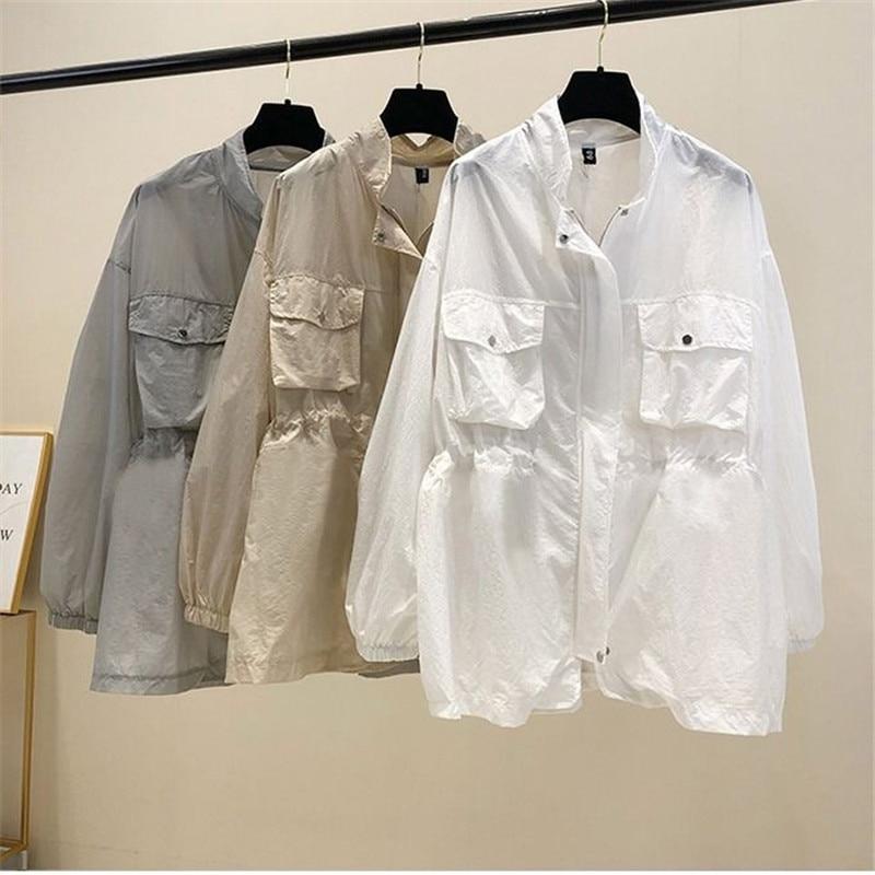 coats and jackets women sunscreen clothing drawstring mid-length windbreaker loose and thin thin sunscreen jacket female iamgia