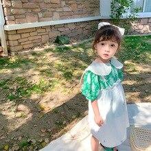 Girls Dress 2020 Summer Dress New Girl Suspender dresses Shorts-sleeved Embroidery Suspender Dresses