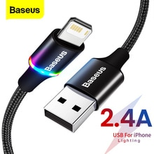 Baseus LED USB Cable For iPhone 12 11 Pro Xs Max X Xr 8 7 6 6S Fast Charging Charger Mobile Phone Da