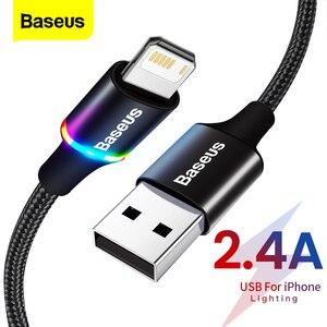 Baseus USB кабель со светодиодной подсветкой для iPhone 12 11 Pro Xs Max X Xr 8, 7, 6, 6S быстрое зарядное устройство мобильный телефон кабель для передачи данны...