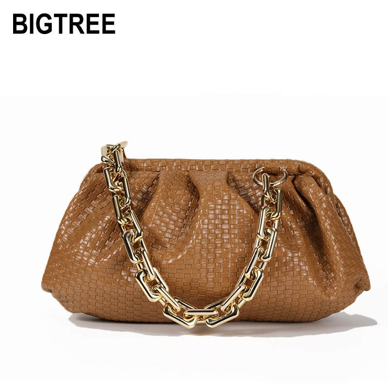 2020 New Shoulder Bag Gold Thick Chain Top-handle Bags PU Leather Handbags Women Luxury Bag Fashion Cloud Bag For Women