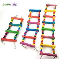 birds pets parrots ladders climbing toy hanging colorful balls with natural wood bird toys large medium small parrot supplies