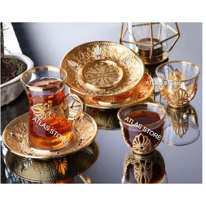 TURKISH TEA GOLD  PATTERN 6 PERSONALİTY TEA 18 PIECE TEA SET