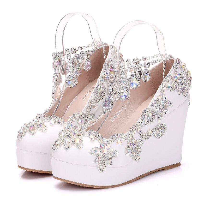 Crystal Queen-حذاء نسائي بكعب ويدج ، حذاء بكعب عالي مرصع بأحجار الراين ، فاخر ، لحفلات الزفاف