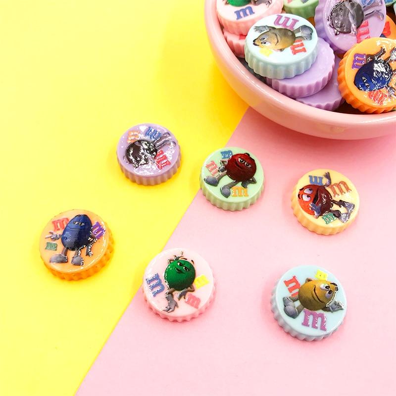 20 piezas plano trasero resina cabujón Kawaii dibujos animados M frijoles tapa de botella cabujones adornos DIY accesorios de decoración de teléfono 20mm
