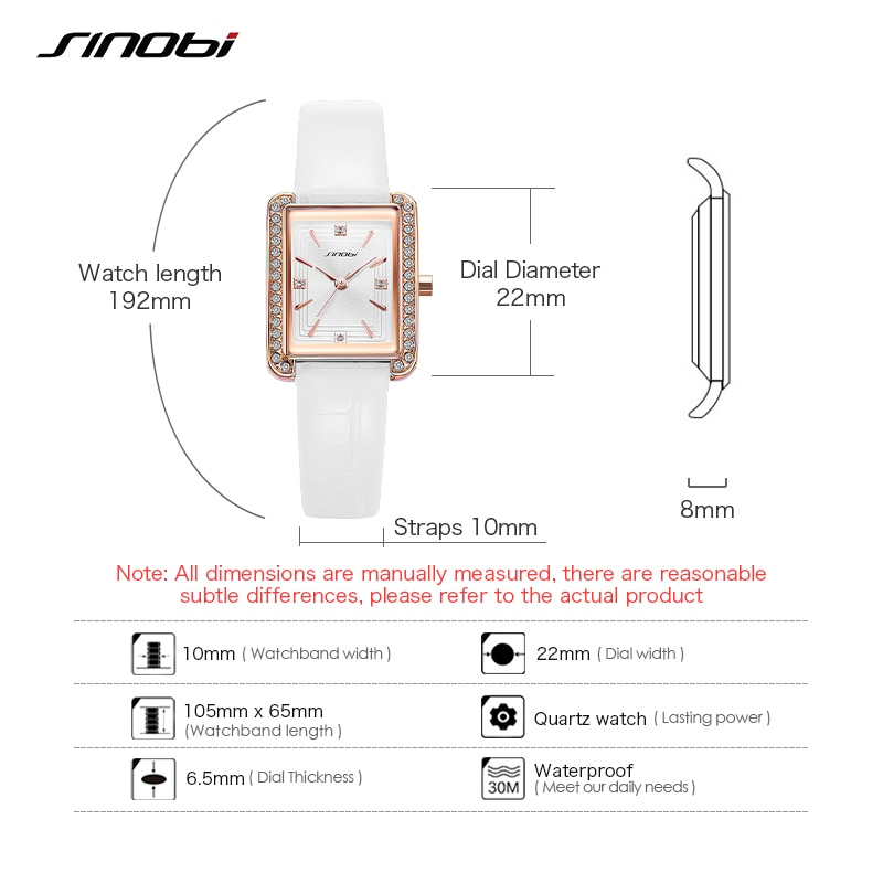 Sinobi Original Elengant Women Diamand Watches Fashion Luxury Leather Woman Quartz Wristwatch Ladies Clcok Relogio Feminino enlarge