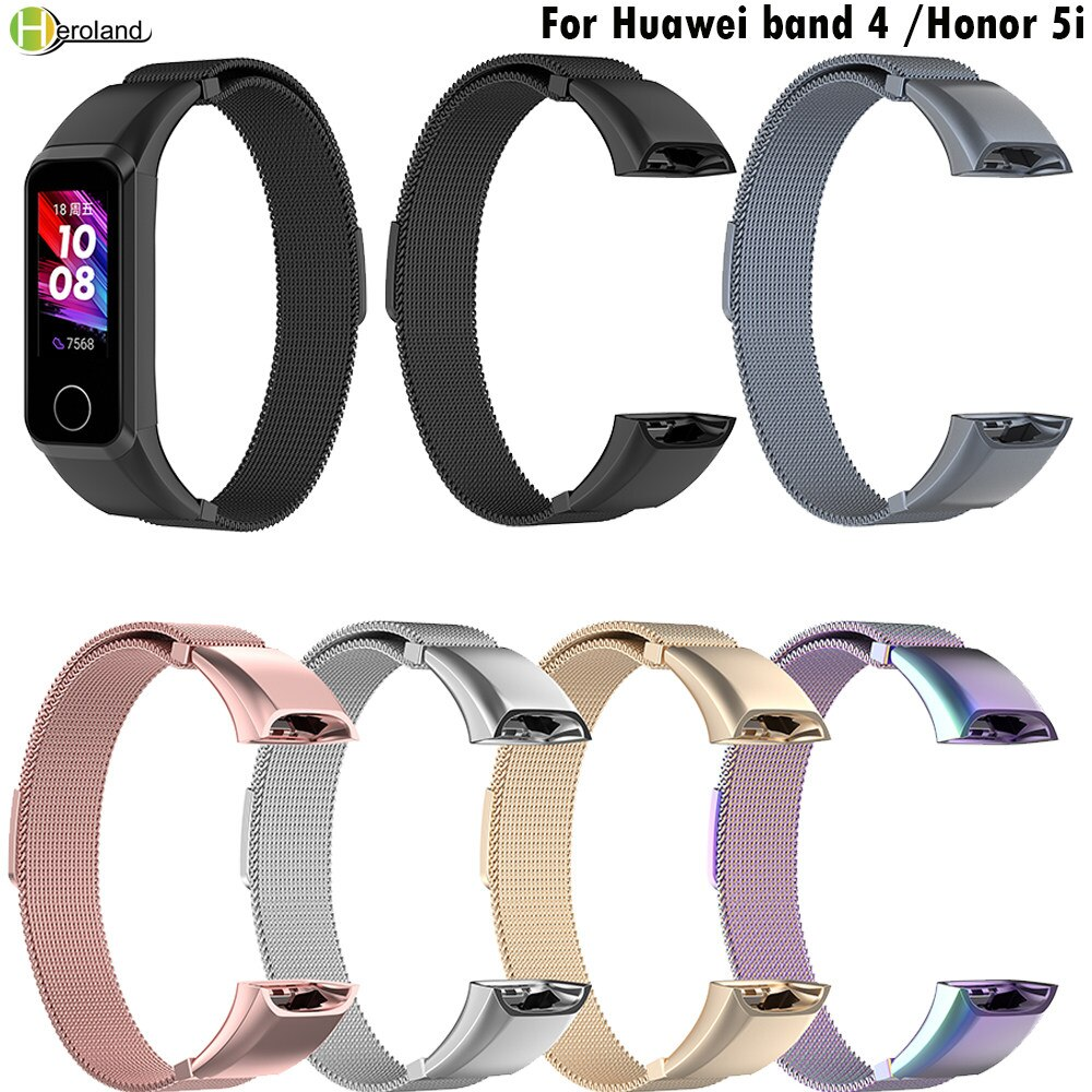 Pulsera de acero inoxidable para Huawei band 4, accesorios para Huawei Honor band 5i, pulsera milanesa, correa para reloj