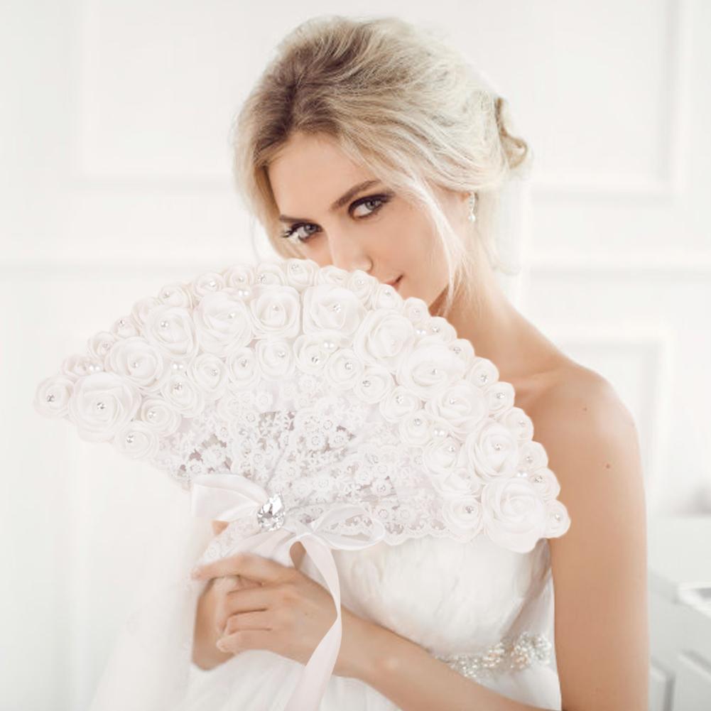 1PC novia ventilador de mano de encaje Rosa Fans-ventilador plegable boda fiesta foto accesorios para baile boda decoración