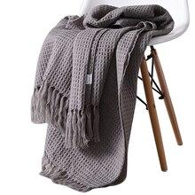 Manta de tela escocesa de algodón liso tejido con flecos, manta suave moderna nórdica con flecos para cama, sofá, sofá, manta de siesta para el hogar, gris