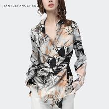 Fashion Satijn Gedrukt Vrouwen Blouse Hoge Taille Lace-Up Asymmetrie Lengte Lange Mouwen V-hals Top Elegante Dames Office Casual tops
