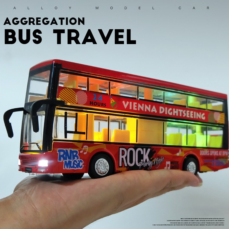 foppapedretti bus Alloy double-decker bus bus toy boy children's toy car open door large bus model with light and music